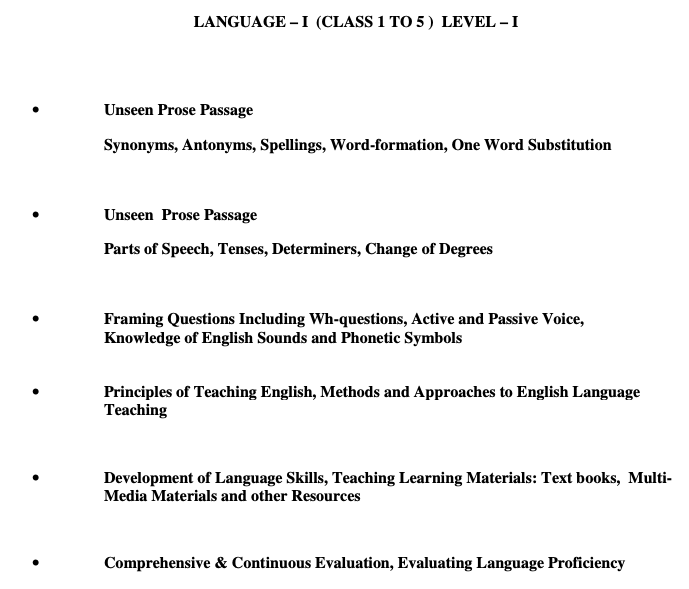REET Level 1 English Syllabus
